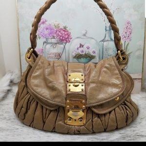 MIU MIU Matelasse purse tan leather